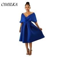 OMILKA 2018 Summer Women Off the Shoulder V Neck Big Swing Ruffle Dress Vintage Blue Rose Blue Backless Club Party Midi Dress