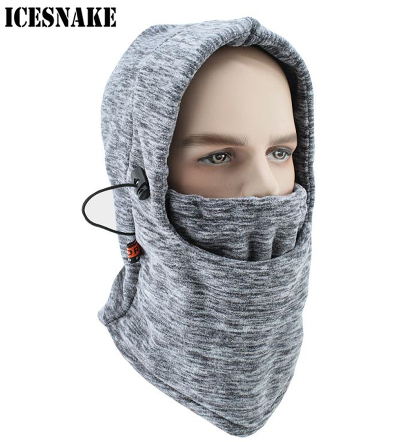 ICESNAKE Motorcycle Face Mask Thermal Fleece Balaclava Motorcycle Ski Snowmobile Cycling Full Face Mask Under Helmet Hood Hat купить недорого в Москве