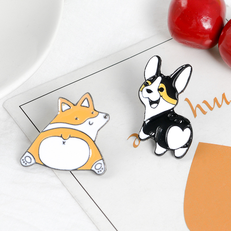 2019 Cartoon Animal Corgi Butt Enamel Brooch Cute Dogs Button Badge Pins Bag Clothes Jewelry Gift For Corgi Fans Kids Friends Elegant And Graceful