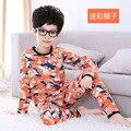 Pijamas 2016 nova chegada do bebê bonito menina manga longa pijamas conjunto crianças macaco animal roupa para dormir roupas garoto algodão
