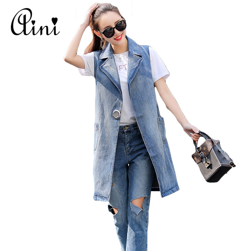Plus Size S-3XL 2017 Summer Jacket Sleeveless Cardigan Ladies <font><b>Jeans</b></font> Waistcoats Long Denim Vest Women Slim Jacket Chalecos Mujer