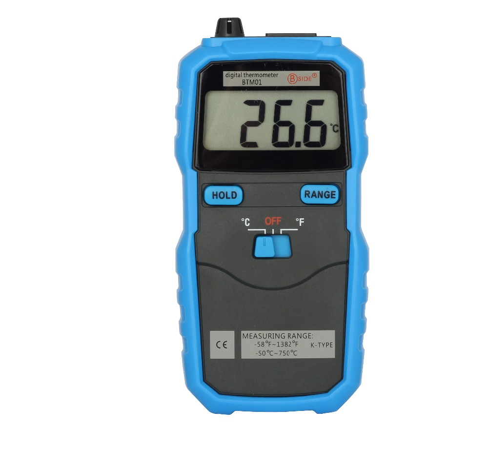 BSIDE BTM01 Digital Thermometer -50~750C/-58~1382F Portable Temperature Meter LCD Display K Type Thermocouple with Data Hold portable k type thermocouple probe thermometers digital thermometer temperature measurement meter 50 1350 c
