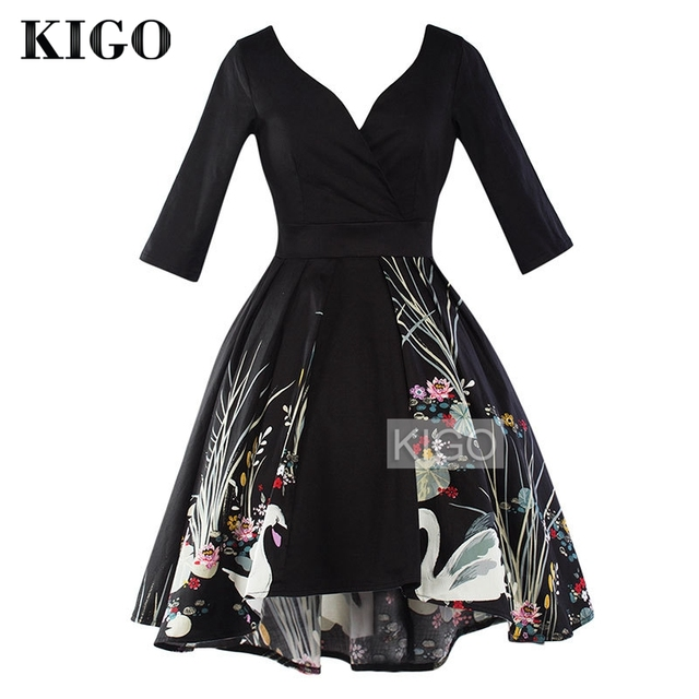 KIGO Women Vintage Dress 50s 60s Ladies Rockabilly Big Swing Sexy V Neck  Half Sleeve High Low Dress Elegant Print Dress KD0688H 5ba2ff13a7a8