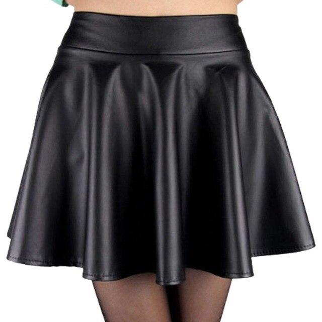 5073da02fb Con estilo de Las Mujeres de Cintura Alta Faldas Cortas Niñas de Imitación  de Cuero Mini