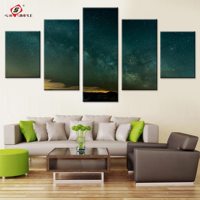 Night Sky Canvas Schilderijen Muur Pictures voor Slaapkamer Sterren ...