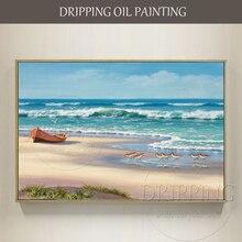 Ручная роспись пейзаж маслом на холсте Ручная роспись пляж и волна Картина маслом для декора стен