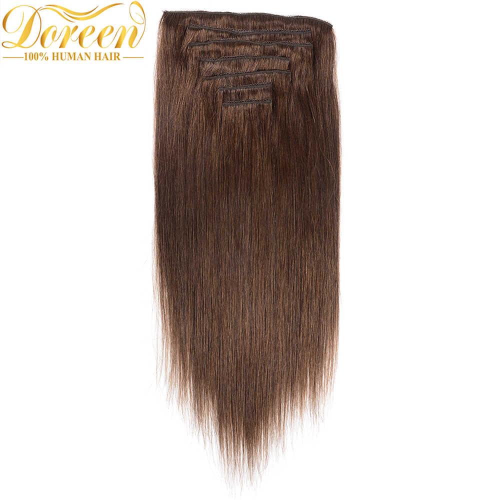 """Doreen #1 # 1B #2 #4 #8 искусственные волосы одинаковой направленности длинные дюймовые человеческие волосы для наращивания клип в полный набор головы 16 """"-26 прямые"""