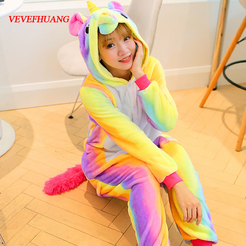 VEVEFHUANG Adult Winter Rainbow Stripe Unicorn Pajamas Unisex Animal Hooded Flannel Pajama Cute Cartoon Sleepwear For Women Men