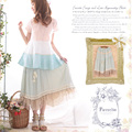 Japanese Spring Summer Solid Cotton Linen Cute Kawaii Loose Skirt Women's Lace Layer Printing Lolita Princess Female Skirt A020