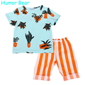 Humor Bear Kids Casual Set Boys Clothing Sets Kids Clothes Children Clothing Flower Tops+ Stripe Pant 2PCS Children Clothing Set