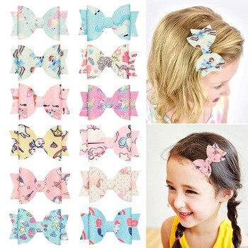 Bonitos lazos para el pelo con dibujo de unicornio de 3 pulgadas para niños, broches blandos con cola de golondrina de doble capa, accesorios para el cabello con brillo para niñas