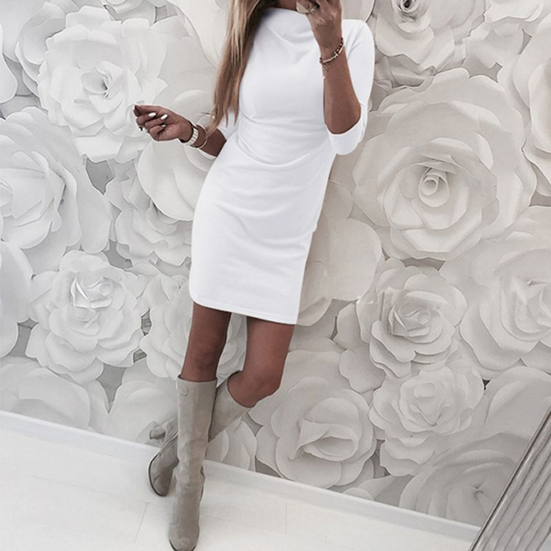 Women Warm Sexy Dress Women Turtle Neck Knitted Dress Autumn Winter Sweater Dresses
