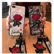 Fashion Sexy 3D Rose Coque Flower With Lanyard Phone Case For Huawei P9 P10 Lite Plus Lace Back Cover For P9 Lite P9 Plus P10 цены онлайн