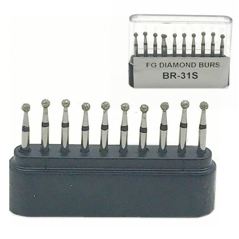 10pc/Boxes Dental Diamond Burs Drill Dental Burs Dia-burs For High Speed Handpiecess Medium Dentist Tools