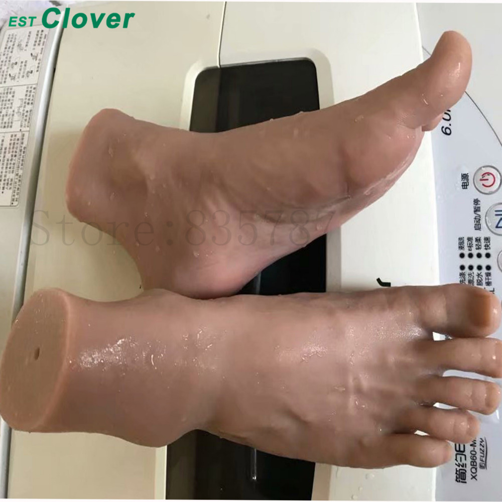 Full Silicone Foot Sex toys Male Mannequin Foot Shoes Display 42 Wheat C145