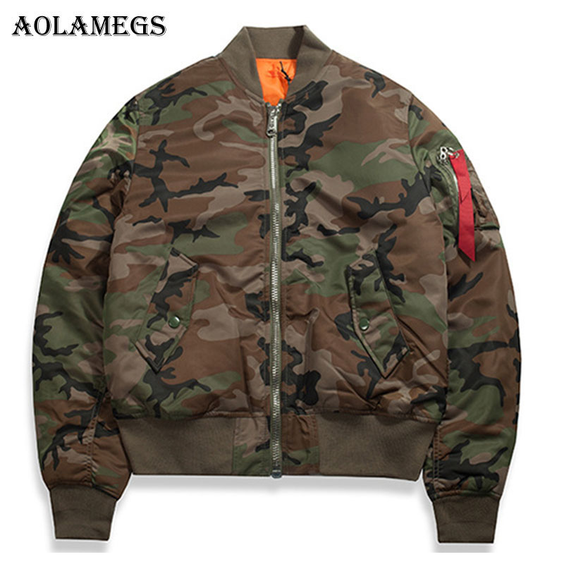 Aolamegs Winter Men Jacket Tactical Camouflage Thick Men S Jacket Zipper Cotton Stand Collar Fashion Outwear
