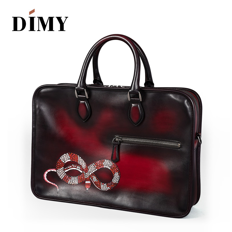 DIMY high-end leather briefcase for men, bespoke fashion briefcase travel bag with hand painted animal pattern custom gifts new sokotoo men s colored painted snake 3d print jeans fashion black slim stretch denim pants