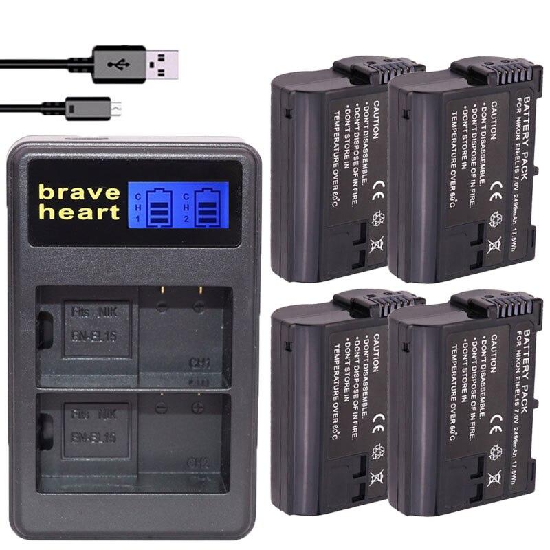 4Pcs EN-EL15 EN EL15 ENEL15 EL15A Batteries + LCD Dual USB Charger For Nikon D600 D610 D600E D800 D800E D810 D7000 D7100 D750 V1