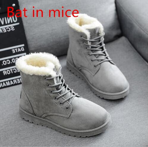 Bat in mice 2017 Women Boots Snow Warm Winter Boots Botas Lace Up Mujer Fur Ankle Boots Ladies Winter Plus Cotton Shoes Black #1 brand women winter boots warm pu leather boots botas mujer lace up fur ankle boots flat heels ladies casual shoes 3 colors