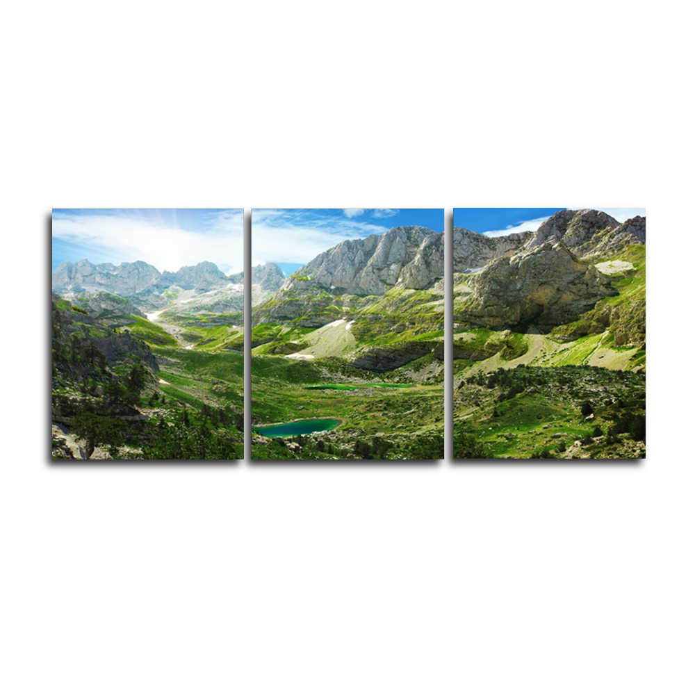 Laeacco Spring Green Mountain Outside Posters and Prints Nordic Home Living Room Decoration Art Canvas Paintings on the Wall