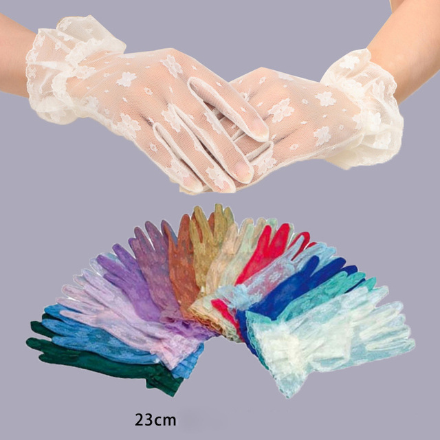 Multiple Colour Elastic Mesh Cloth Party Formal Etiquette Glove Women Nightclub Sexy Short Lace Princess Erotic Dance Gloves A71 5