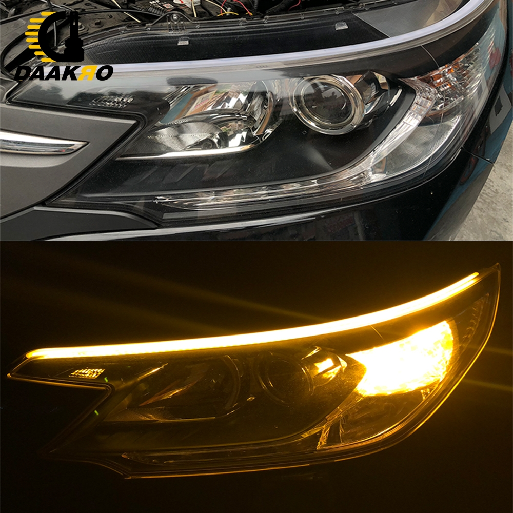 Image 3 - 60CM Universal DC 12V Turn Signal Dual Color LED Strip Light White Yellow High Flexibility 6000K 4500K Flowing Lamp Light-in Signal Lamp from Automobiles & Motorcycles