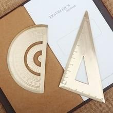 1 pcs Vintage Brass Handy Triangular Ruler Graphometer Ruler School Copper Metal Natural Color EDC Outdoor