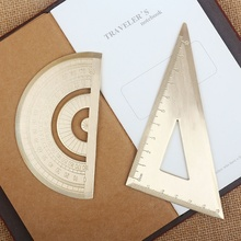 1 pcs Vintage Brass Handy Triangular Ruler + Graphometer Ruler School Copper Metal Natural Color EDC Outdoor Tools