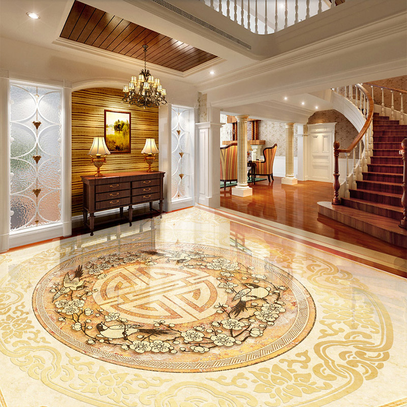 Custom 3D Floor Tiles Mural Wallpaper European Style