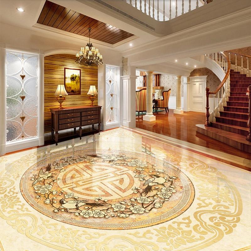 Custom 3D Floor Tiles Mural Wallpaper European Style Marble Luxury Flooring Wall Paper Sticker Hotel Living Room PVC Vinyl Mural