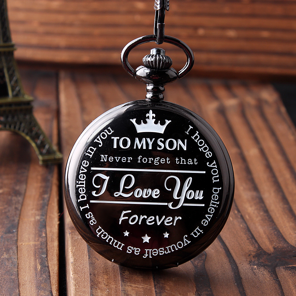 Classy Black Pocket Quartz Watch TO MY SON I LOVE YOU LETTER Carving for Boys Mens Child ...
