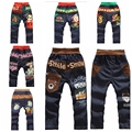 Retail 2015 new arrival spring autumn children kids cartoon jeans trousers letter boy girl jeans pants