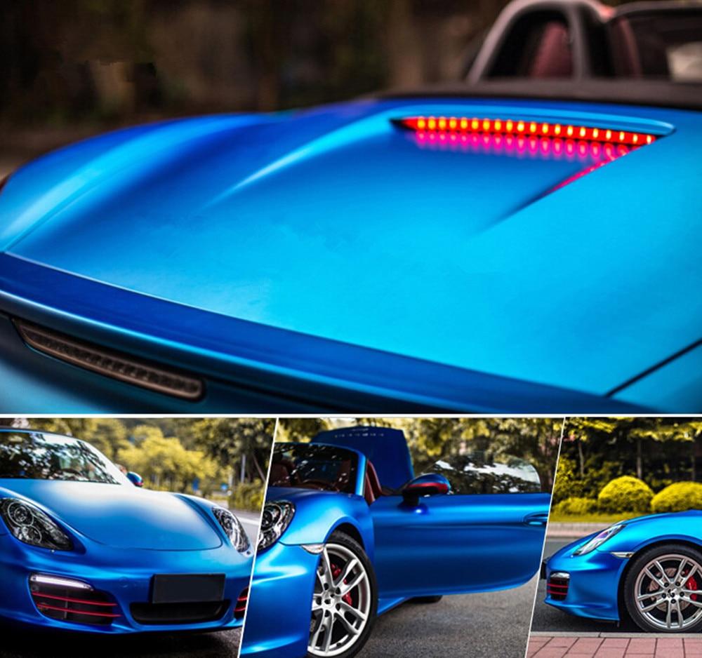 Dark Blue Satin Chrome Matte Vinyl Car Wrap Car Motorcycle DIY Styling Adhesive Film Sheet With Air Bubble Free Sticker 20x60