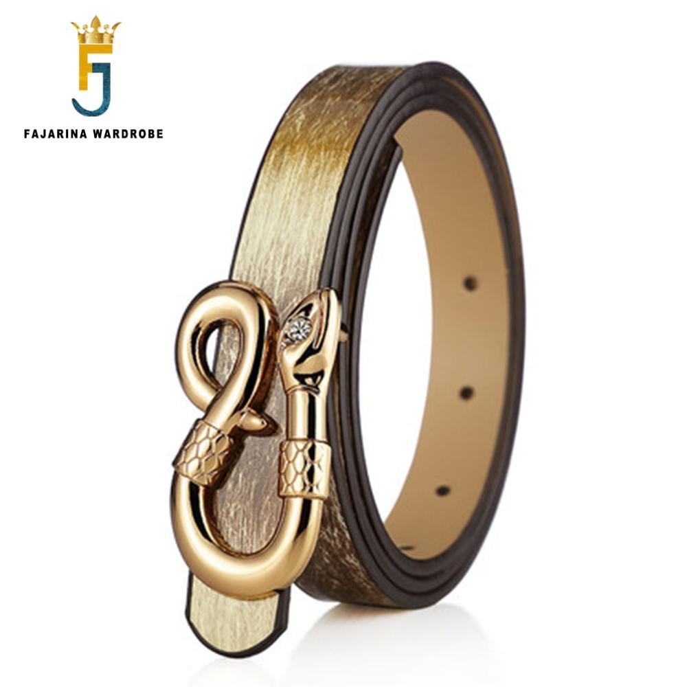 FAJARINA Ladies Quality Fine Leisure Brown PU Leather Candy Belt Decorative Snake Pattern Grace Buckle Belts for Women LUFJ350