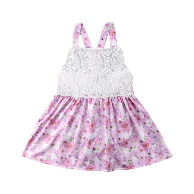 3eed51166f3b 2018 Yaz Yenidoğan Bebek Çocuk Kız Pembe Tutu Dantel Papyon Çiçek Romper  Tulum Kıyafet Seti Giyim
