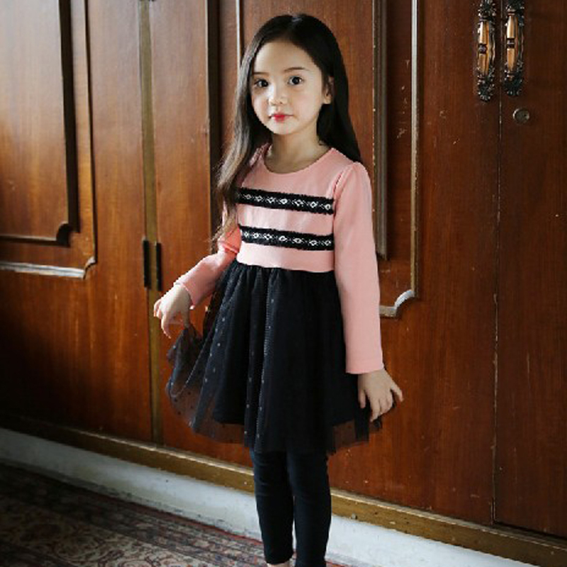 2017 Autumn Christmas cute Lace Girls Dress mesh Girl Clothing longsleeve Princess Dresses Girl Cotton Costume Kids girls