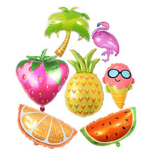 Hawaii Theme Party Foil Balloons Flamingo Pineapple Ice Cream Fruits Balloons Summer Party Birthday Decoration Party Supplies(China)