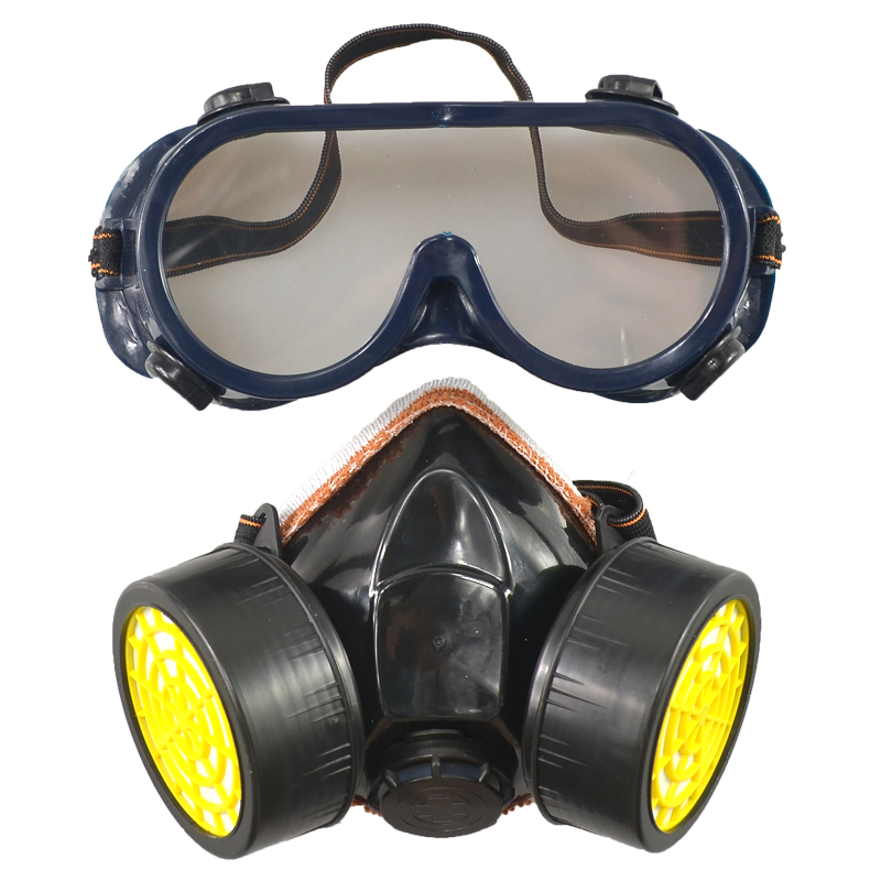 Free Shipping Dual Anti-Dust Spray Paint Industrial Chemical Gas Respirator Mask Glasses Set fghgf 1pc chemical respirator mask industrial gas chemical anti dust spray paint respirator face masks filter glasses gas mask