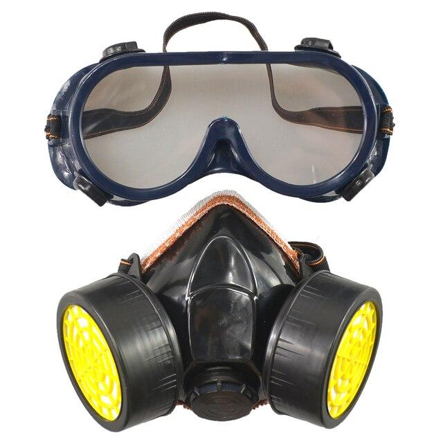0819d6a40076c Frete Grátis Duplo Anti-Poeira Pintura Pistola Máscara Química Industrial  Gás Respirador Óculos Definir