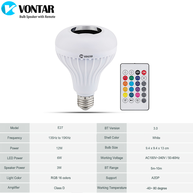 VONTAR E27 B22 Wireless Bluetooth Speaker+12W RGB Bulb LED Lamp 110V 220V Smart Led Light Music Player Audio with Remote Control 2