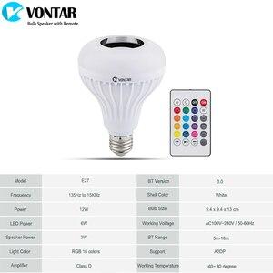 Image 3 - VONTAR E27 B22 Wireless Bluetooth Speaker+12W RGB Bulb LED Lamp 110V 220V Smart Led Light Music Player Audio with Remote Control