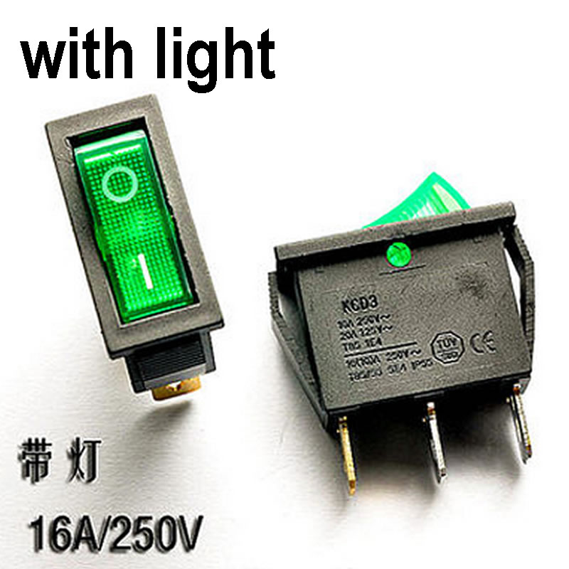 H012-06 5pcs Boat Car Rocker Switch Green Button ON/OFF 3 Pin 16A 250V AC / 20A 125V AC SPDT with 12V Green LED Light 13.6*30mm yellow led on off rocker switch w terminal protector set for electric appliances 2 pcs