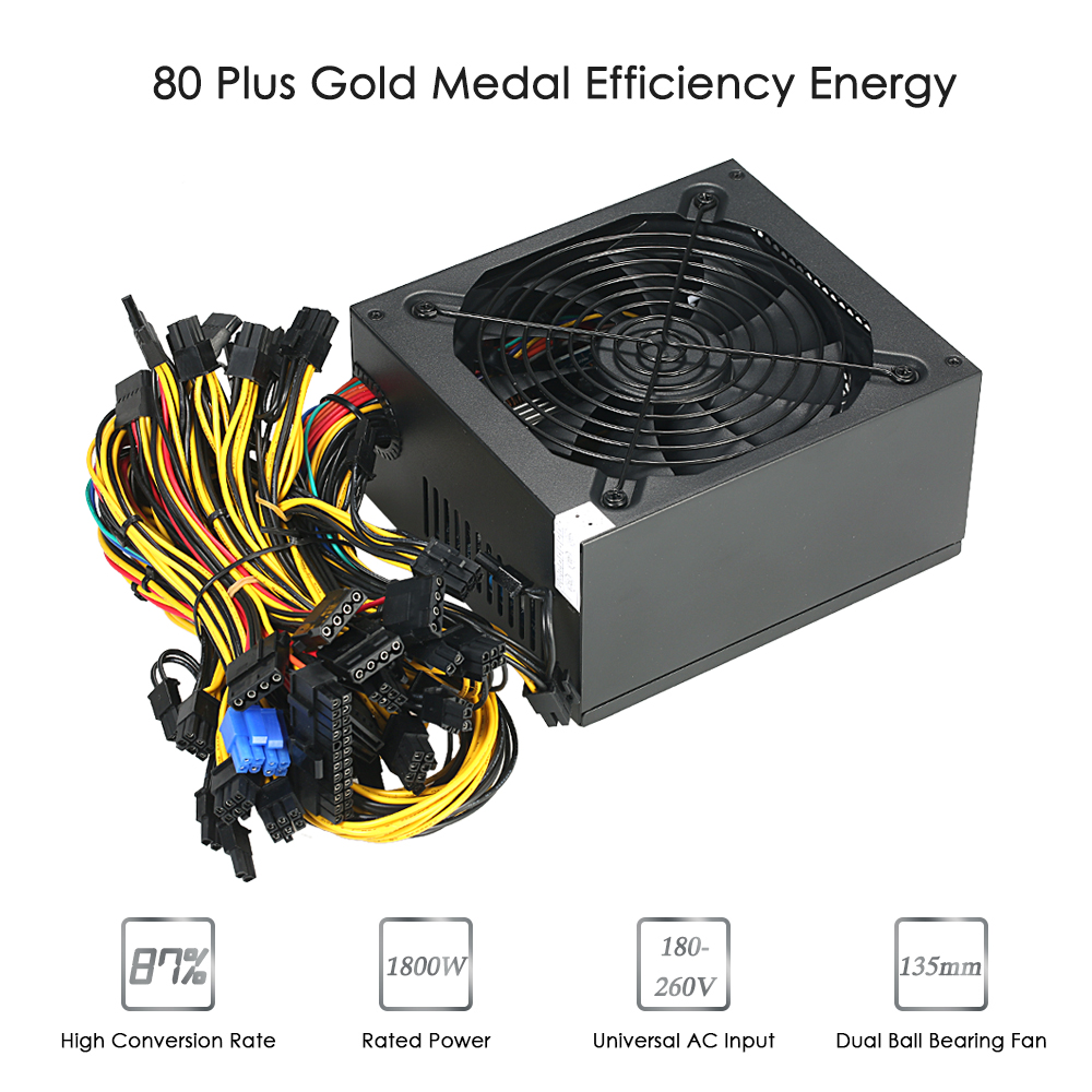 1800W Switching Server Power Supply 87% High Efficiency Professional Mini Machine Power Source for Ethereum S9 S7 L3 Rig Bitcoin