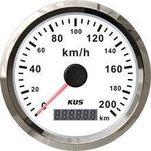 Лучшая цена! KUS gps Спидометр прибор для измерения скорости 85 мм 0-200 км/ч со Спидометр с антенной белая Лицевая панель для автомобиля мотоцикла универсальный
