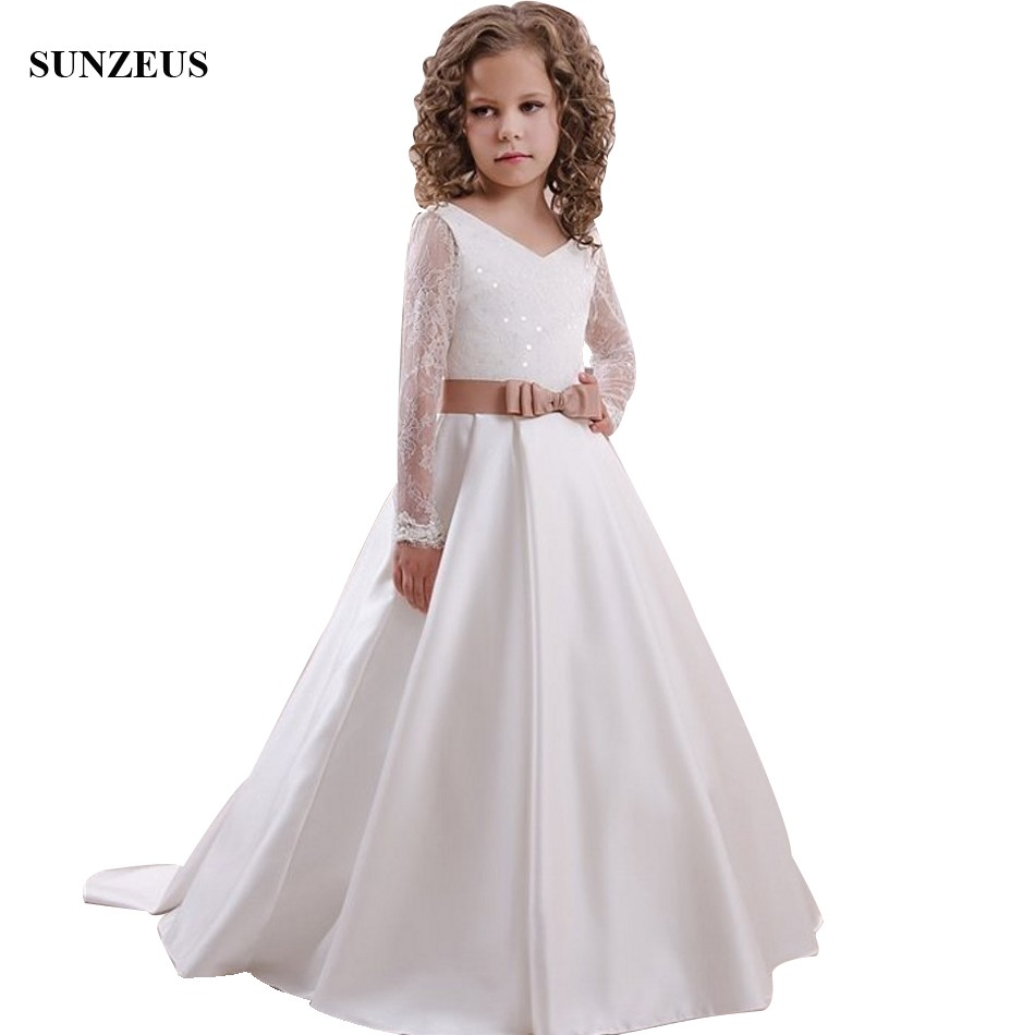Lace Long Sleeve   Flower     Girl     Dresses   With Sequins A-line V-neck Long Satin Children Wedding Party   Dress   robe fille FLG112