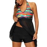 Women Swimwear Plus Size Tankinis Vintage Stringy Mesh High Waist Boxer Shorts Two Pieces Swimsuit Swimdress Beach Wear M 5XL
