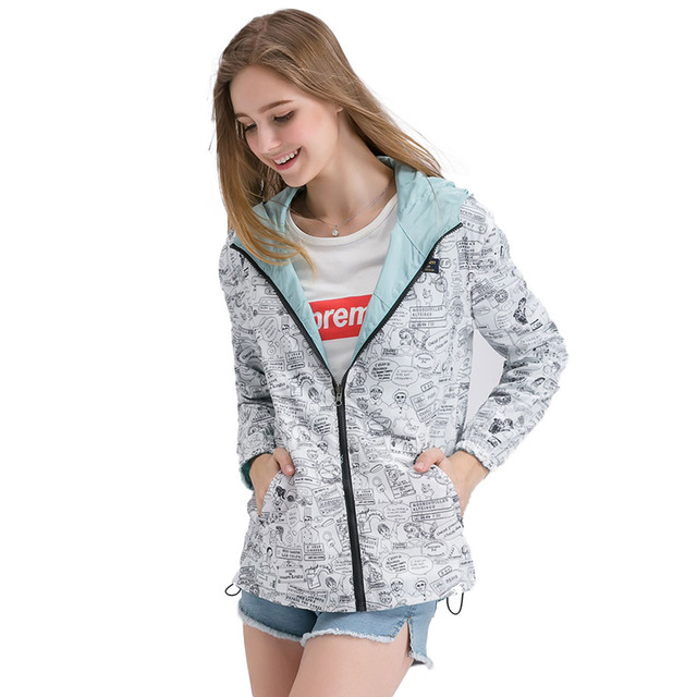Pocket Zipper Loose Hooded Two Side Wear Outwear Cartoon Print Casual Jacket