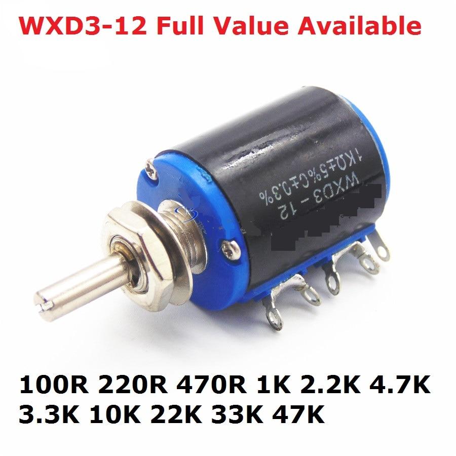 2 pçs precisão multi turn potenciômetro WXD3-12 1 k 2.2 k 3.3 k 10 k 4.7 k 33 k 100r 220r 47 k 22 k 470r ohm