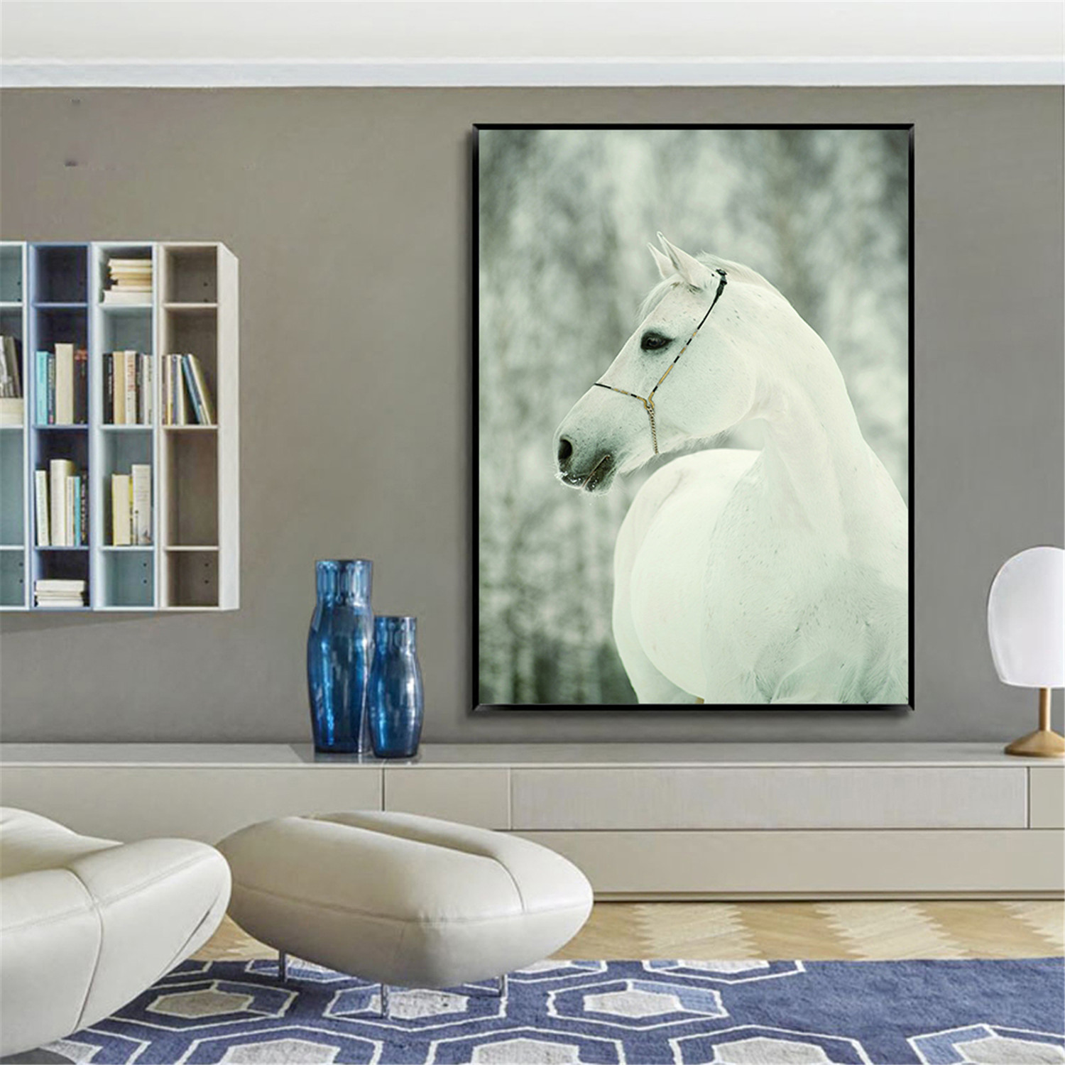 Wall Pictures For Living Room Horse Off White Canvas
