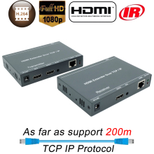 HDMI Splitter Over IP Extender 200m Over CAT5 CAT5e CAT6 RJ45 Ethernet Cable HDBitT LAN Transmitter Receiver With IR & Loop Out